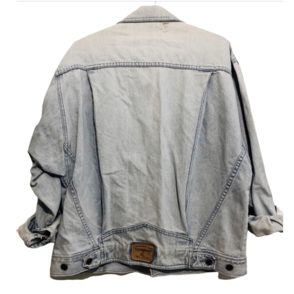 Vintage 80s Light Wash Distressed Denim Jacket L